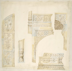 Details of the carvings on the marble doors, doorways, jambs and cenotaphs of the marble tomb of Ghazi al-Din Khan at his Madrassah in Delhi